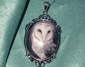 Wisdom - Vintage style antique silver toned art photo pendant of a barn owl on 18 in chain comes gift boxed for her