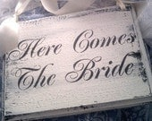 Wedding Sign REVERSIBLE Here Comes the Bride and Thank You Sign SHABBY CHIC Beach Wedding