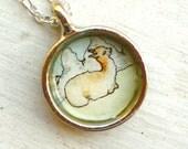 hand painted necklace, original watercolor pendant, Llama
