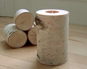 FREE SHIPPING -  White Birch Candle Holder with a  Sweet Pea Tealight