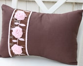 Brown/Pink Pillow with 3 Flower Rosette