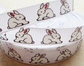 """Easter Bunny on white 3/8"""" grosgrain ribbon"""