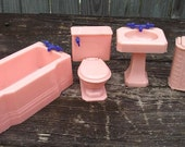 Vintage Renwal Bathroom Doll House Furniture Pink with Blue Handles