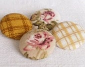 Fabric Covered Buttons - Cozy Brown Series  - 4 Medium Fabric Buttons