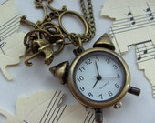 Bronze, alarm clock, pocket watch, charms, scissors, umbrella, key, pendant, necklace by kadootje77 on etsy