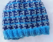 Turquoise Wool Hat with Navy and Gray Broken Houndstooth Pattern