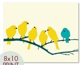 Little Yellow Birdies on a Branch - 8x10 Print - Cool Color Palettes (Turquoise accent bird) - pixiepixels