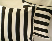 Pillow Pair . Awning Stripes in Black . 2 Pillow Cover Set .  18  inch . Free Shipping
