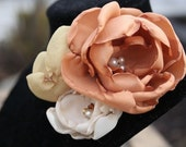 Elsbeth: Rust, Gold and Ivory Flower Brooch