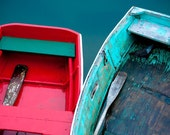 Row Row Row Your Boat - 8 x 12 Fine Art Photograph of two red and teal row boats with weathered, peeling paint on dark green water in Rockport, Massachusetts
