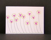 Original ACEO card - Flowery hearts