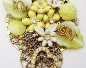 Vintage Collage Necklace Yummy Lemon Yellow