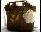 Vintage Basket Tote Bag Shabby Chic French Market Chiffon Flower