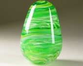 Blown Art Glass Egg Paperweight - Spring Green Maelstrom