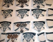 Mosaic Tiles  Vintage  Teal, Gold, Flower Swags w Broken white China Tessera
