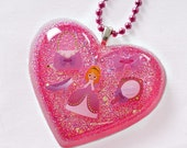 Pink Princess Lolita Heart Necklace Pendant