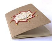 Origami embroidered moleskine - Happiness