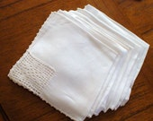 Eight Fine Linen Wedding Hankies