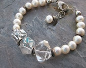 Pure shimmer pearls and genuine rock quartz crystal bracelet