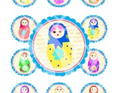 Matryoshka Russian Dolls Cupcake Cake Topper Circle Tea Birthday Party Children Labels Stickers Gift Tags Digital Collage Sheet Images Sh017