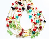 FREE SHIPPING, Harlequin Beaded Necklace
