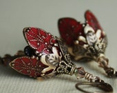 VICTORIA...RED - Anitqued, brass, flower, vintage inspired earrings