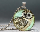 Vintage Owl Collage Domed Resin Pendant C186-1VS