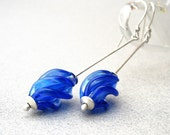 Long Blue Sapphire Minimalist Stem Earrings, Sterling Silver, Vintage Handmade Glass Beads