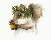 Dionysus - Squirrel Art - Holiday sale -marked down 15%...cyber monday etsy...black friday etsy