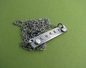 Lucky - Sterling Silver Handstamped Statement Necklace