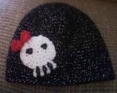 Glittery Black Girlie Skull Cap