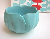 "Pretty Upcycled Wooden Bowl ""Aqua Lotus Bowl"""