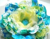Spring flower in blue-green-white-Fabric flower-Brooch,comb or hair clip