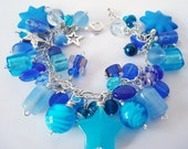 Shades of Blue Beaded Charm Bracelet