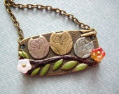 Antique Bronze Cutest Three Owl on Branch Necklace