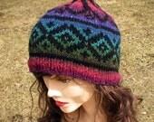 Pixie Beanie Hat Multicolored Color Change Rainbow with Diamonds