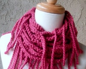 SUPER  SALE Fuchsia Raspberry Dusty Rose Chain Fringed Crochet Fiber Art  Infinity Circular Handmade Scarf Scarves Cowl