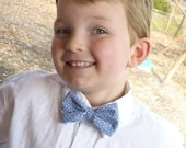 Boy's Blue Leafs Bow Tie - clip on