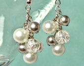 Silver Swarovski Pearl Cluster Dangle Earrings, Perfect Bridal or Bridesmaid Earrings