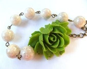 Necklace - Ferngulley Green Rose and Riverstone
