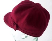 Red Wool Newsboy Hat - Janis - M