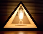 Wood Triangle pyramid lamp