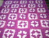 Handmade crochet blanket -  Chunky yarn fushia and pale pink 106