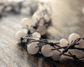 GAIA handmade necklace (long) - snow quartz and warm gray knotted cord.