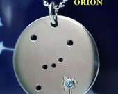 Constellation Necklace - Customize with Any Constellation, Zodiac, Star Cluster - Photo Features Orion with  Blue Topaz in star Rigel