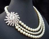 MERCEDES Ivory Swarovski Pearls with Starburst Brooch Necklace