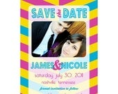Save the Date - Bright Chevron - Customizable Digital File for Printing or Emailing