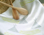 FREE SHIPPING. ready to ship. teepees and rivers. modern linen tea towel.