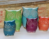 handmade ceramic owl family of five - choose your colors - MADE TO ORDER
