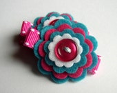 Set of 2 Felt Flower Hair Clippies- The Lola. Perfect for birthday gifts or party favors.